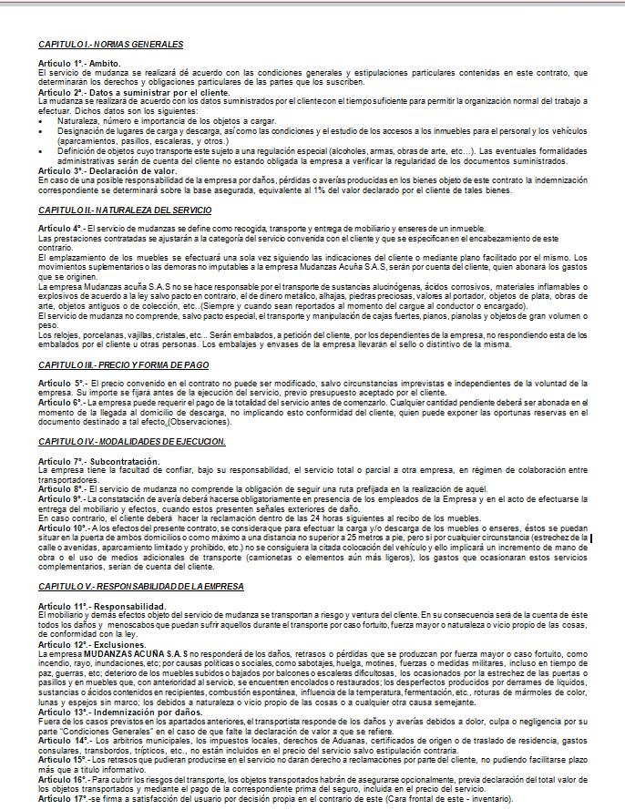 Lee contrato de transporte para mudanzas