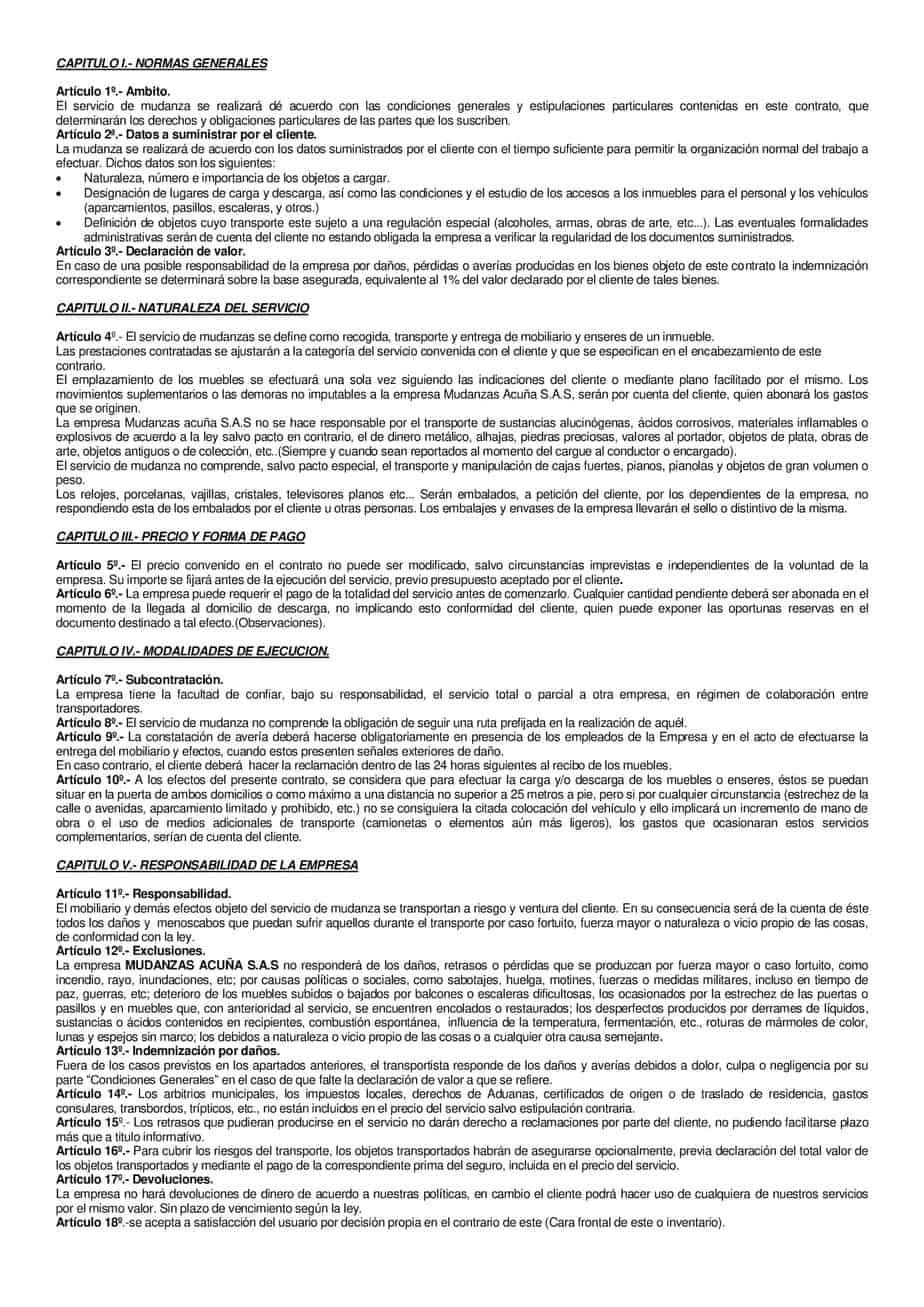 contrato para mudanzas acuña en colombia